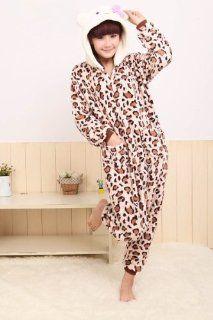 Halloween Kigurumi Kostüm Erwachsene Damen Flanell Overall Kostüme Pyjama Schlafanzug leopard Hello Kitty (XL(für Höhe 180 188cm)): Sport & Freizeit