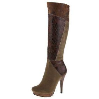Damen Schuhe, STIEFEL, HIGH HEELS GEFÜTTERT, 888 194, Synthetik in hochwertiger Velour Leder Optik, Braun Multi, Gr 41 Schuhe & Handtaschen