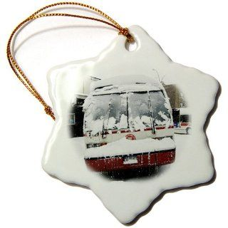 orn_45492_1 Kike Calvo New York   MTA City Bus front view after having an accident.Blizzard in Central Park, Manhattan, New York   Ornaments   3 inch Snowflake Porcelain Ornament   Decorative Hanging Ornaments