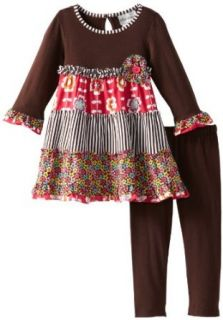 Rare Editions Girls 2 6X Toddler Printed Leg Set, Brown, 3T: Clothing