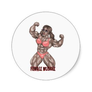 Bodybuilding Female Muscle Worship Design Round Sticker
