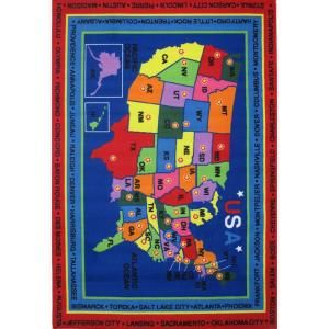 LA Rug Inc. Fun Time State Capitals Multi Colored 5 ft. 3 in. x 7 ft. 6 in. Area Rug FT 184 5376