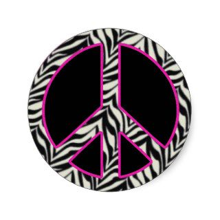 Zebra Print Peace Sign Sticker