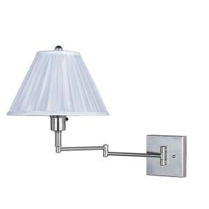 Park Madison Lighting 16 in. Satin Nickel Wall Swing Arm Portable Lamp with Handcrafted Pleated White Shade PMW 1520 16