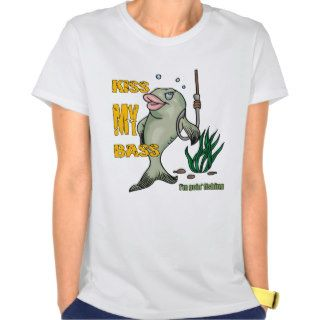 Funny Fishing T Shirt Fishing Humor Kiss my Bass