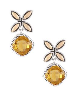 Batu Kawung Cognac Quartz Drop Earrings