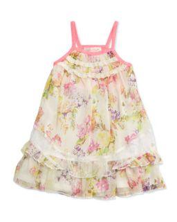 Ruched Neck Floral Dress, 12 24 Months