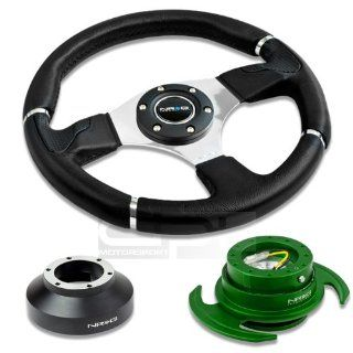 """NRG Innovations 13.78"""" 350mm Black Leather Racing Steering Wheel Combo with 6 Hole Short Hub Adapter with Gen 3.0 with Handle Green Quick Release Kit SRK 131H Automotive"""