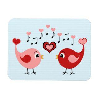 Cute Singing Love Birds   Red & Pink Heart Cartoon Vinyl Magnets