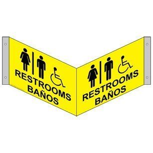ADA Restrooms With Symbol Sign RRB 6986Tri BLKonYLW Restrooms  Business And Store Signs