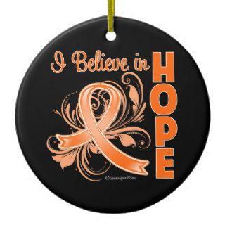 Skin Cancer I Believe in Hope Orange Ribbon Christmas Tree Ornaments