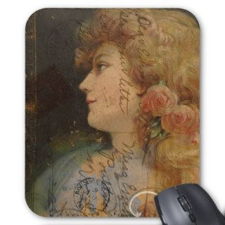 Pretty Lady Vintage Digital Collage Mouse Pads