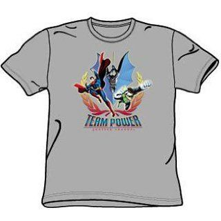 Justice League TEAM POWER Adult Heather Gray T shirt Tee Shirt Clothing