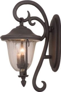 Kalco 9003 MB Santa Barbara   Four Light Large Outdoor Wall Bracket, Textured Matte Black Finish with Clear Seeded Glass   Wall Porch Lights