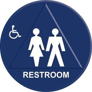 Lynch Sign 12 in. x 12 in. Blue Plastic Circle Triangle Restroom Sign UNI 12