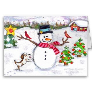 Snowman & Dog Winter Scene Christmas Card