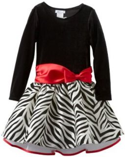 Bonnie Jean Girls 7 16 Stretch Velvet Bodice To Drop Waist Zebra Print Skirt, Red, 8 Special Occasion Dresses Clothing