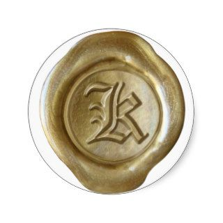 Wax Seal Monogram   Gold   Old English   Letter K Stickers