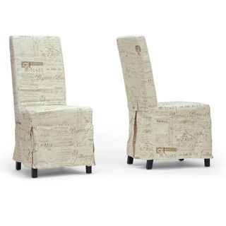 Baxton Studio Picard French Script Beige Linen Modern Dining Chairs (Set of 2) Baxton Studio Dining Chairs