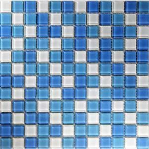 EPOCH Oceanz Atlantic Mosaic Glass Mesh Mounted Tile  3 in. x 3 in. Tile Sample DISCONTINUED ATLANTIC SAMPLE