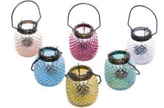 Hobnail Iridescent Glass Lantern with Metal Hanger