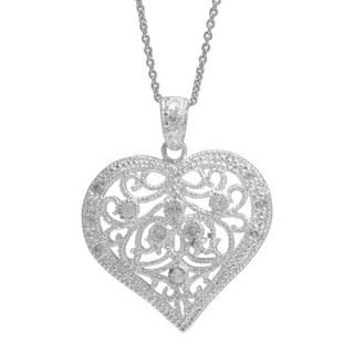 Silver Plated Cubic Zirconia Filigree Heart Pendant   Silver/Clear (18)