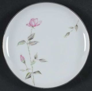 Sango Dawn Rose Salad Plate, Fine China Dinnerware   Pink Rosebuds, Coupe, Plati