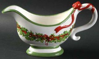 Christopher Radko Holiday Celebrations (Green Trim) Gravy Boat, Fine China Dinne