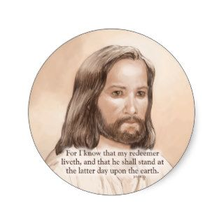 Sepia Jesus Art Bible Quote   Job 19:25 Sticker