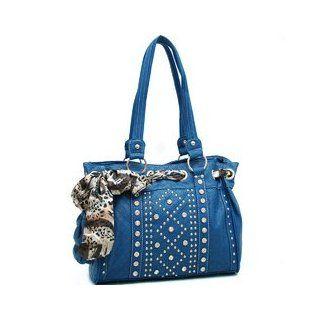 HPW   Safari Scarf Looped Rhinestone Studded Shoulder Bag   Blue Color Blue