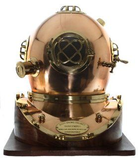 Full Size Replica US Navy Mark V Brass Diving Helmet Wood Base   Collectible Figurines