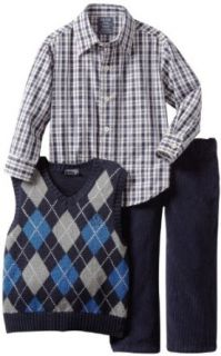 Izod Kids Boys 2 7 Argyle Sweater Vest Plaid Shirt and Pant 3 Piece Set, Sport Navy, 2T/2 Regular Clothing