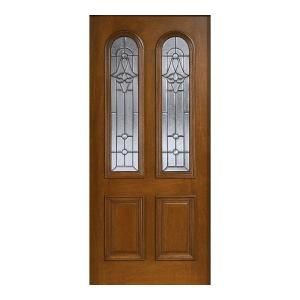 Main Door Mahogany Type Prefinished Cherry Beveled Patina Twin Arch Glass Solid Wood Entry Door Slab SH 552 CH BPT