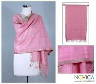 Handcrafted Cotton and Silk 'Maheshwari Rose' Shawl (India) Novica Scarves & Wraps
