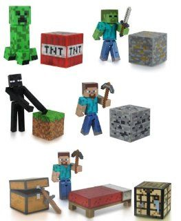 "Minecraft 3"" Figure Set Of 5 w/ Steve Enderman Creeper Zombie & Survival Pack: Toys & Games"