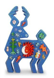 Wood display jigsaw puzzle, 'Huichol Blue Deer'   Unique Wood Blue Deer Sculpture Mexican Folk Art   Statues