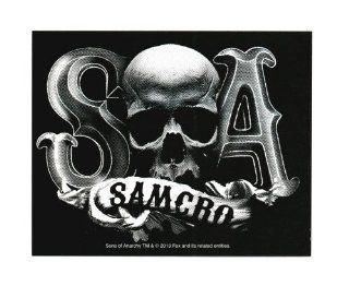 Sons Of Anarchy Samcro Skull B/W Sticker: Toys & Games