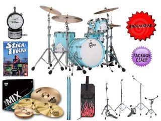 "Gretsch Renown 57 Bop RN57 J484 MCB 4 Piece Drum Kit   Motor City Blue INCLUDES Hot Rod Flame Stick Bag, Sabian Cymbal Pack, Gibraltar Hardware, Matching Drumsticks, DrumDial Drum Tuner & the Sticks Tricks DVD by Chip Ritter. EXCLUSIVE ""ALL YOU N"
