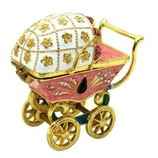 """Objet d'art Release No.471 """"Morning Stroll"""" Antique Baby Carriage Handmade Jeweled Trinket Box   Decorative Boxes"""