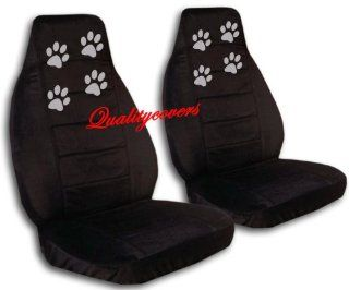 2 Black seat covers with Silver Paw Prints for a 2013 Hyundai Santa Fe, Steering Wheel Cover Included: Automotive
