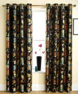 """BLACK FLORAL READY MADE CURTAIN IN VINTAGE FLORAL DESIGN (RIO) EYELET HEADING 46"""" X 54""""   Window Treatment Curtains"""