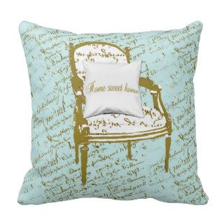Home Sweet Home, French Script Throw Pillow