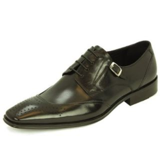 Natazzi Mens Leather Shoe Lace Up Wingtip Oxford Mod Pisa L 3030 Black: Shoes