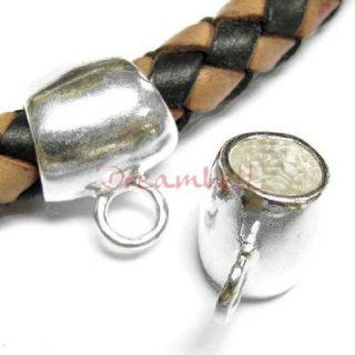 1 pc .925 Sterling Silver Bail 6mm Leather Cord Pendant Connector f/ Pandora Troll Chamilia European Charm