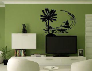 Surfer Surfing Board Palm Tree Wall Mural Vinyl Sticker Decal AL541   Wall Decor Stickers
