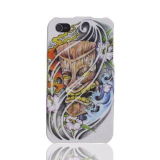 Design Hawaii Ocean Flowers Surf Tiki Mask Tattoo Art cool hard case cover for Apple iPhone 4 4G 4S: Cell Phones & Accessories