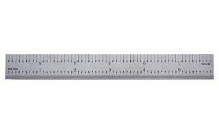 "PEC Tools 502 012 12"" 5R USA Rigid Steel Rule, reads 32nds, 64ths, 10ths, 100ths.   Construction Rulers"
