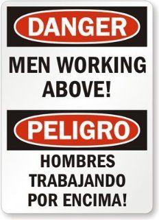 "Danger: Mens Working Above ! Peligro Hombres Trabajando Por Encima!, Laminated Vinyl Labels, 7"" x 5"": Office Products"