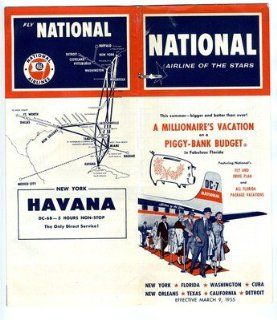 National Airlines Time Table March 1955 Airline of the Stars Havana DC 6 B : Everything Else