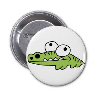 Alligator Crocodile Gator Croc Cartoon Caricature Button